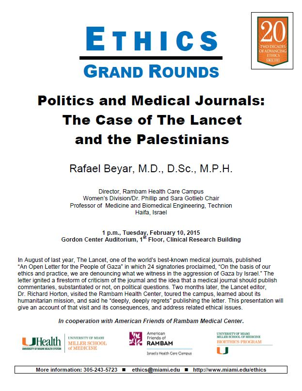 Ethics Grand Rounds: Politics and Medical Journals - The Case of the Lancet and the Palestinians